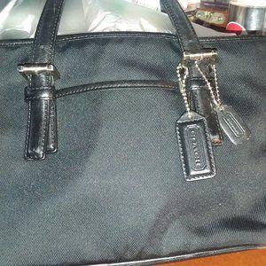 Black nylon small coach bag